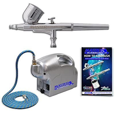 Master Airbrush Brand High Performance Multi-purpose Gravity Feed Dual-action Airbrush Kit with 6 Foot Hose and a Powerful 1/8hp Single Piston Quiet Air Compressor-The Complete Set Now Includes a (FREE) How to Airbrush Training Book to Get You Started