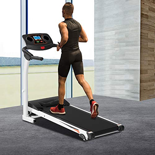 Cungon Online Treadmill Folding Electric Treadmill Motorized Running Jogging Machine with LCD Display, Shock Absorption, 264 LB Max Weight and Folding Running Belt for Home Use
