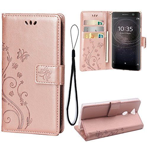 Wallet Case for Sony Xperia XA2, 3 Card Holder Embossed Butterfly Flower PU Leather Magnetic Flip Cover for Sony Xperia XA2 (Rose Gold)