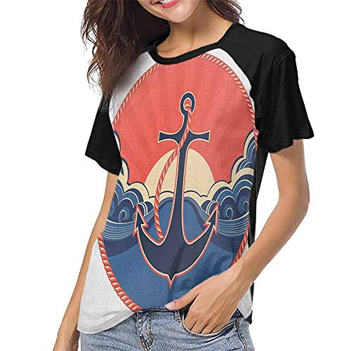 Anchor,T Shirt Print Short Sleeve S-XXL(This is for Size Large) Navy Label with Robe and Sea Waves at Sunset Anchor Retro Aquatic Life Icons,Women Summer Streetwear