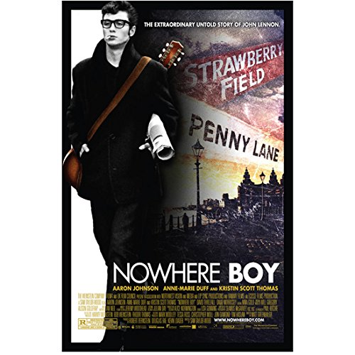 Back Photo Movie (Aaron Taylor-Johnson 8 Inch x 10 Inch PHOTOGRAPH Nowhere Boy (2009) Guitar on Back Movie Poster kn)