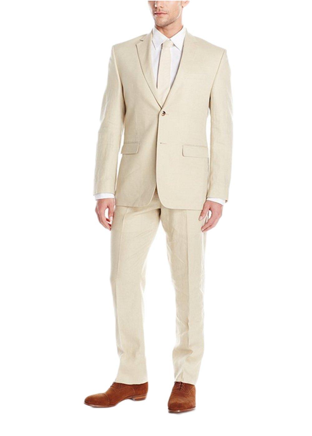 Love Dress Men's Two Button Suit with Flat Front Pant Tan L