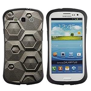 """Pulsar iFace Series Tpu silicona Carcasa Funda Case para SAMSUNG Galaxy S3 III / i9300 / i747 , Modelo abstracto gris Arte Hexágono"""""""