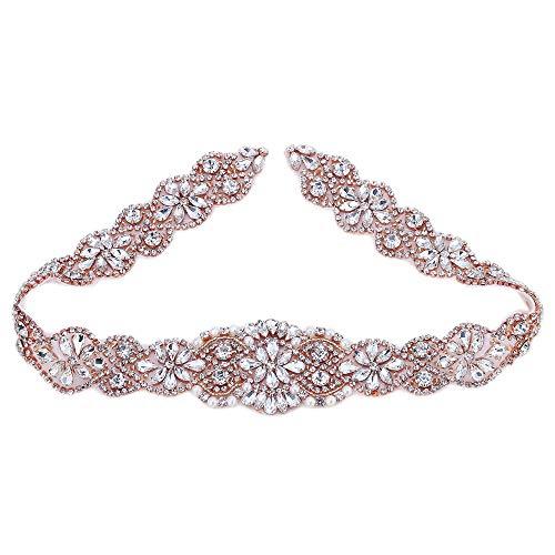 Hot Fix Handmade Rose Gold Bridal Dress Sash Crystal Applique with Clear  Rhinestones and Pearls DIY 2e950b042ca9