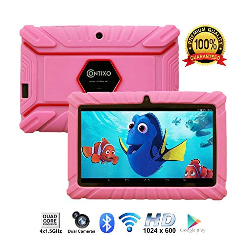 [Upgraded] Contixo K2 HD 7″ Kids Tablet, Android 6.0 Bluetooth WiFi Dual Camera Parental Controls for Children Includes Protection Case Pink