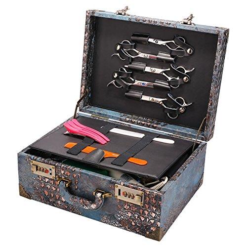 NACHEN Barber Box Case Organizer Hairstylist Portable Suitcase Password Lock Storage Box,Brown,35.5X26.5X15.5Cm by NACHEN (Image #1)