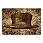 Lunarable Victorian Pet Mat for Food and Water, Steampunk Hat Fantasy Science Fiction Concept Futuristic Gears Cogs Print, Rectangle Non-Slip Rubber Mat for Dogs and Cats, Brown Sand Brown 5