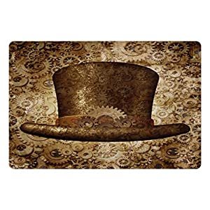 Lunarable Victorian Pet Mat for Food and Water, Steampunk Hat Fantasy Science Fiction Concept Futuristic Gears Cogs Print, Rectangle Non-Slip Rubber Mat for Dogs and Cats, Brown Sand Brown