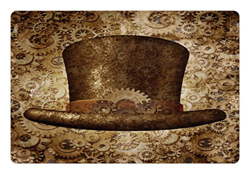 Lunarable Victorian Pet Mat for Food and Water, Steampunk Hat Fantasy Science Fiction Concept Metal Copper Gears Cogs Print, Rectangle Non-Slip Rubber Mat for Dogs and Cats, Brown Sand Brown
