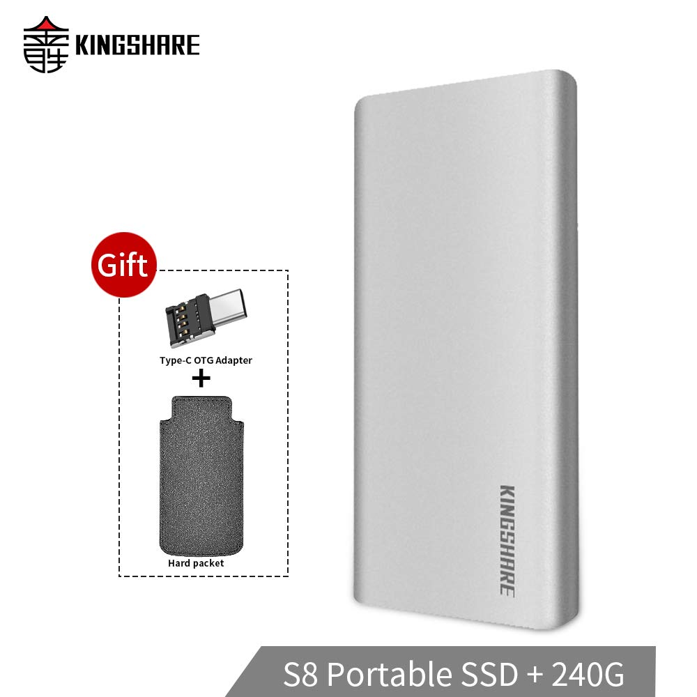 KINGSHARE S8 SSD 240GB USB3.0 Type C External Solid State Drive Portable SSD with UASP Support-Silver …