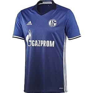 adidas H JSY Camiseta 1ª Equipación Schalke 04 2017-2018, Hombre, Azul (azufue/Blanco), XS