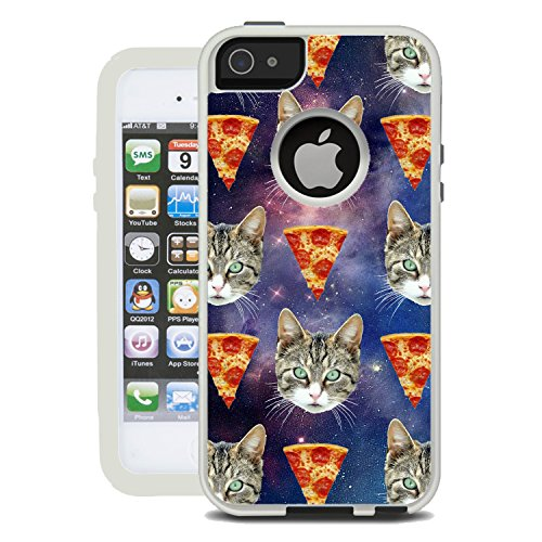 Protective Designer Vinyl Skin Decals / Stickers for OtterBox Commuter iPhone 5S / 5 / SE Case - Galaxy Hipster Cat Pizza Design Patterns - Only SKINS and NOT Case - by [TeleSkins]