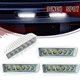 DakRide Spot Straight Fog Work Light DRL Backup Driving Pods Grill Reverse Hidden Bumper Deck Spreader Lights 6