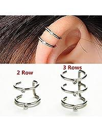1 Piece U Shape Silver Ear Cuff Wrap Stud 2 or 3 Rows Helix Cartilage Earrings Clip on Piercing (Random Rows,2 or 3)