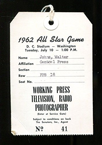 1962 MLB All Star Game Press Pass Ticket D.C. Stadium Washington Marichal 25608