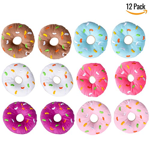 Plush Donuts With Sprinkles, Set Of 12- Assorted Colors Perfect Party Favor, Carnivals, Birthdays, For Kids (Donut Themed Party)