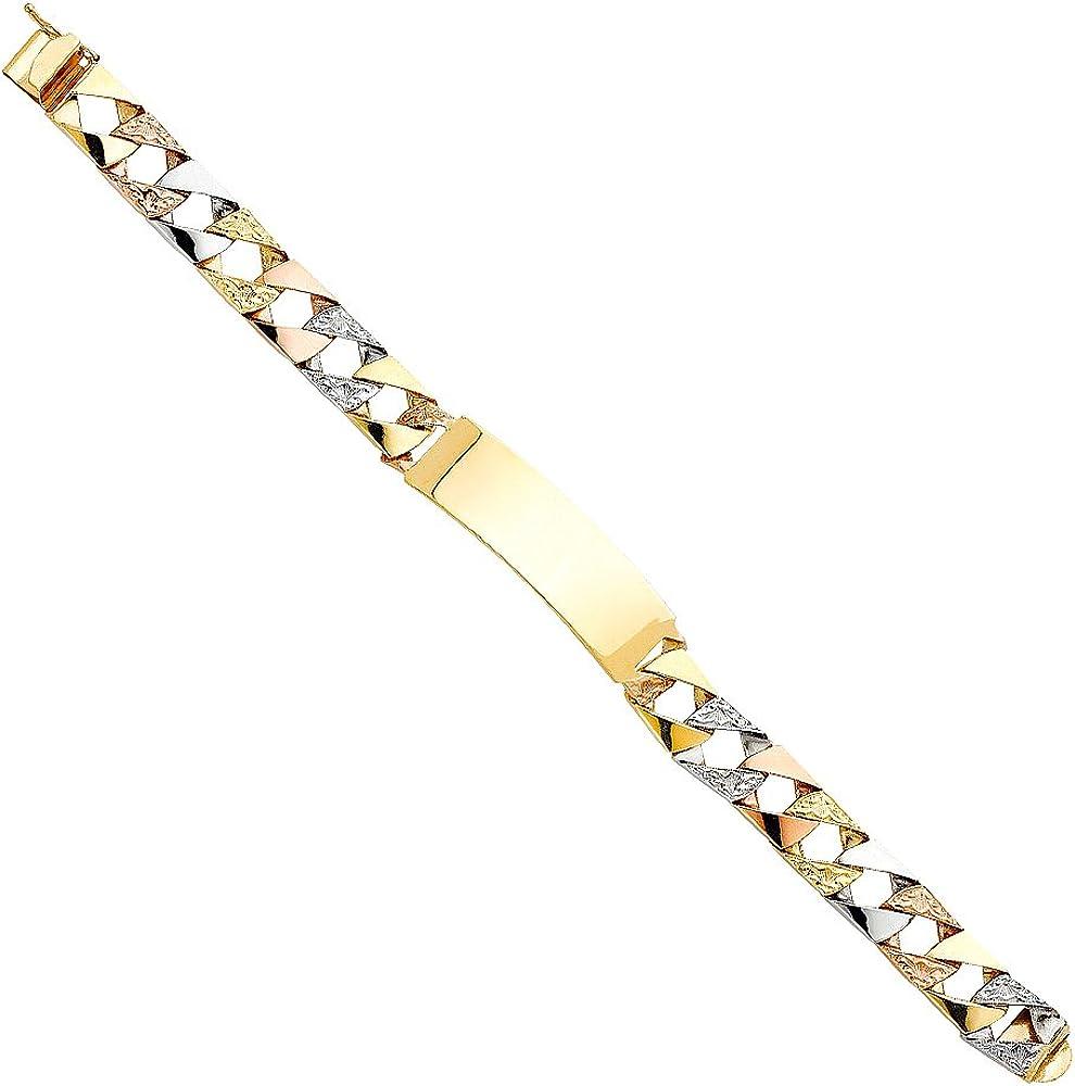 Wellingsale 14k Tri 3 Color Gold Polished Nugget Cuban Link ID Bracelet 6