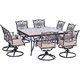 Hanover Traditions 9 Piece Dining Set in Tan with a 60″ Square Glass-Top Dining Table Review
