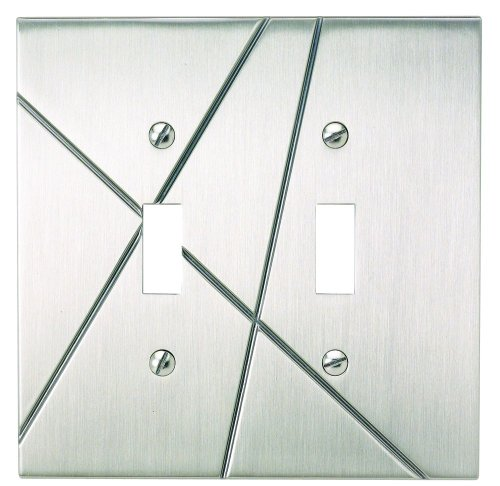 Atlas Homewares NSDT-BRN Modernist 4-7/8-by-4-7/8-Inch Double Toggle Plate, Brushed Nickel