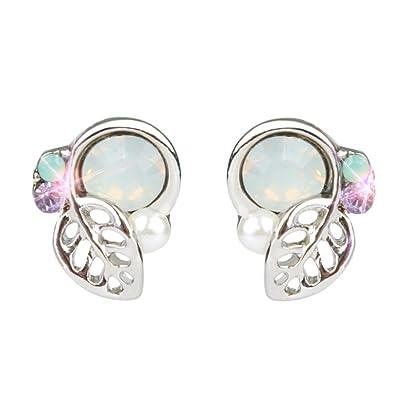 8b3ffa2e5 Lethez Women Crystal Rhinestone Earring Stud Earrings Lovely Leaves Stud  Earring Eardrop (Silver)