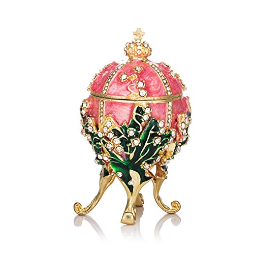 QIFU-Hand Painted Enameled Faberge Egg Style Decorative Hinged Jewelry Trinket Box Unique Gift for Home - Box Jewelry Faberge