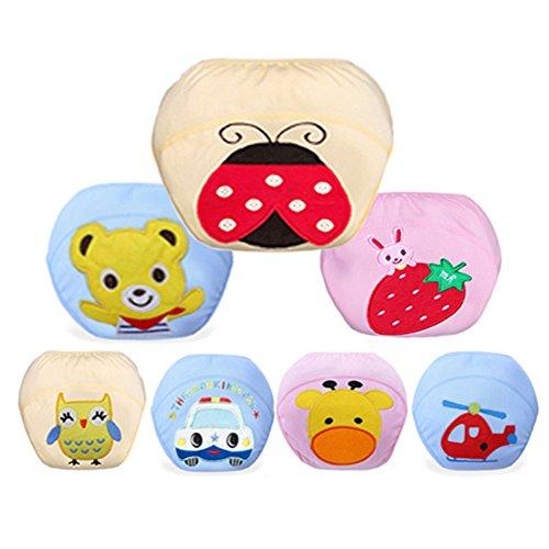 JOX JOZ 7pcs Baby Kids Potty Training Pants Washable Cloth Diaper Nappy Underwear (L-100, 7 Pieces Floral)