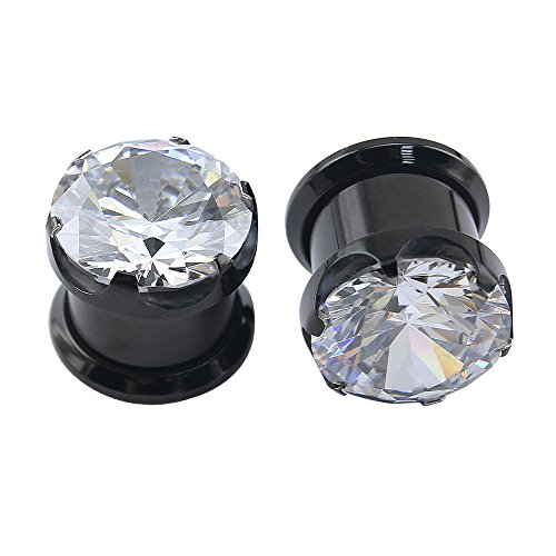 Black Stainless Steel Screw Big Clear CZ Tunnels Plugs Ear Expander Stretcher Piercing Ear Gauges (Gauge=00g(10mm))