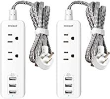 2 Pack Power Strip with USB, 2 Outlets and 3 USB Ports(3.1A, 15W) Travel Power Strip, Desktop Charging Station with 5 ft...