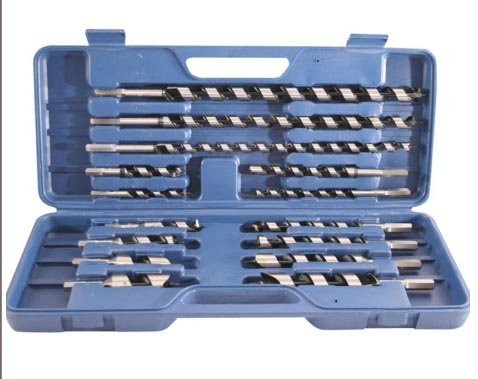 15 PC HEX WOOD AUGER DRILL BITS SET IN CASE C8058