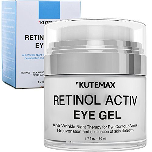Retinol Under Eye Gel - Combo Eye Cream for Dark Circles, Eye Puffiness, Crows Feet, Eye Bags, Fine Lines – Organic Anti-Aging Wrinkle Cream – 1.7 fl oz/50 ml by Kutemax
