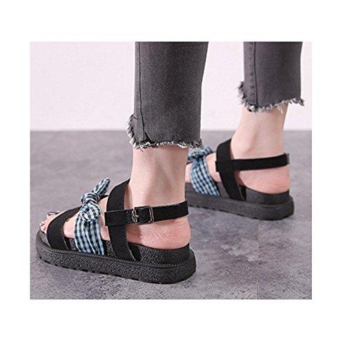 Nœud Décoration Talon Papillon Chaussure SOIXANTE Vert Femme Plate Sandales wFAxSwgqY
