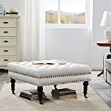 "coffee table ottoman Belleze Ottoman 33"" Foot Rest Bench with Rolling Wheels Upholstered Padded Cushion Stylish Button Tufted Fabric, Beige"