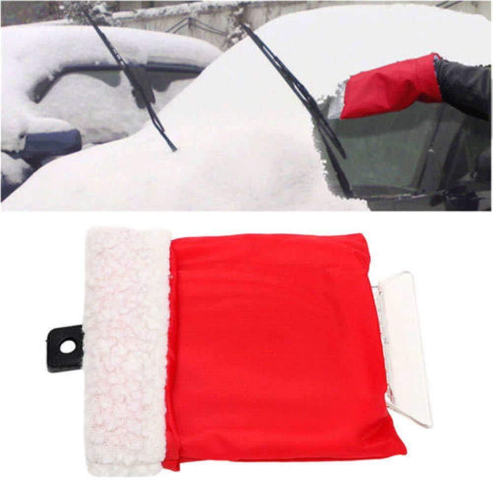 TOBABYFAT Ice Scraper Car Snow Shovel Scraper with Glove Remove Removal Durable Portable Clean Tool (Red)