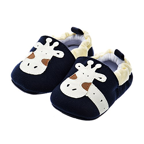 PAMBO Baby Slip-On Shoes for Infants, Newborns and Toddlers-Cute Soft Soled Walking Shoes for Home/Outdoors-Breathable (Size 5, Blue)