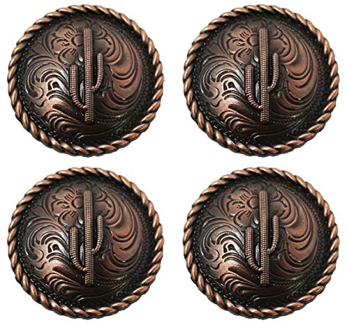 CHALLENGER Set of 4 Conchos Western Saddle Tack Copper Cactus Engraving Co532
