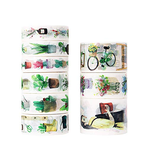 Molshine Set of 9(5.5yd/roll) Washi Masking Tape,Adhesive-Open Flower Shop Series for DIY,Decorative,Planners,Scrapbooking,Object Beautification,Home Furnishing Decor,Party,Gift Wrapping,Supplies