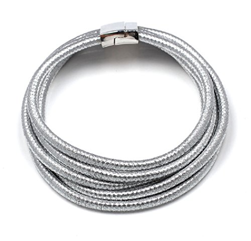 Ooh La La Jewels And Beyond Stylish Celebrity Style Multi Layered Coil Rope Gold Black Choker Necklace (Silver)