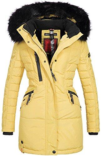 Navahoo Damen Winter Jacke Mantel Parka warm gefütterte Winterjacke B379 Gelb