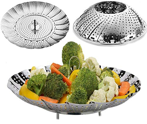 Vege Steamer Basket Steamer Insert for Fish Food Seafood Vege Folding Pressure Cooker Stainless Steel Steamer 5.5 Inches To 9 Inches
