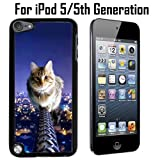 Cat On Fence Custom Case/ Cover/Skin *NEW* Case for Apple iPod 5/5G/5th Generation - Black - Plastic Case (Ships from CA) Custom Protective Case , Design Case-ATT Verizon T-mobile Sprint ,Friendly Packaging - Slim Case