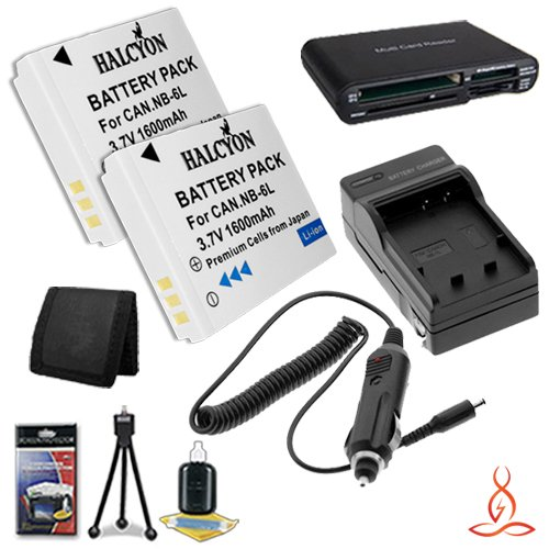 Two Halcyon 1600 mAH Lithium Ion Replacement NB-6L Battery and Charger Kit + Memory Card Wallet + SDHC Card USB Reader + Deluxe Starter Kit for Canon PowerShot SX260 HS 12.1 MP Digital Camera and Canon NB-6L by Halcyon
