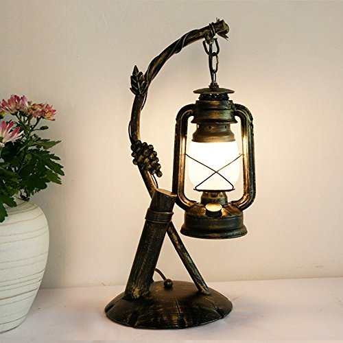 HOMEE Ideal reading light-- american village retro creative kerosene light lights iron table lamp cafe bedroom old style table lamp --desk and bedside lighting by HOMEE