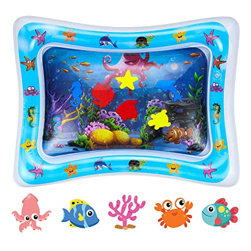 Inflatable Tummy Time Water Mat BPA Free Leakproof PVC Premium Water Play Mat for Babies Toddlers Infants Kids Perfect Baby Toy for Newborn Play Activity Center and Babys Stimulation Growth (Blue)