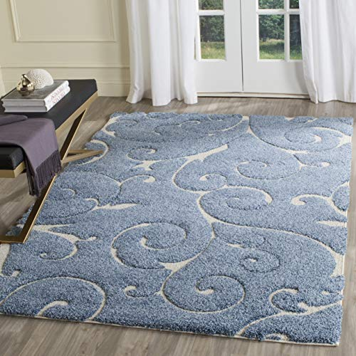 (Safavieh Florida Shag Collection SG455-6011 Scrolling Vine Light Blue and Cream Graceful Swirl Area Rug (4' x 6'))