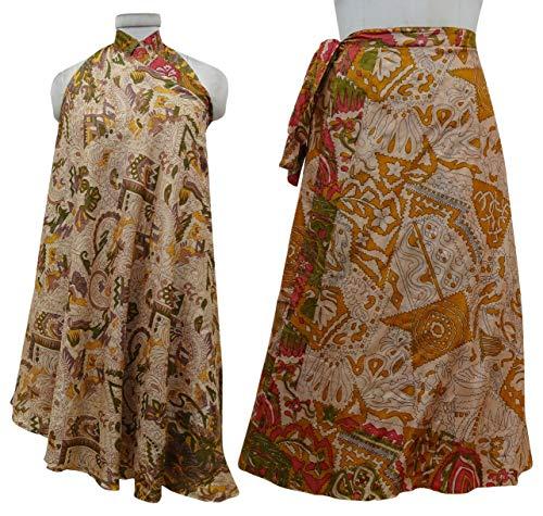 Robe Saree Vintage Clair Wrap Marron Hippie Pure Silk Jupe rversible Indianbeautifulart ZqI1PX