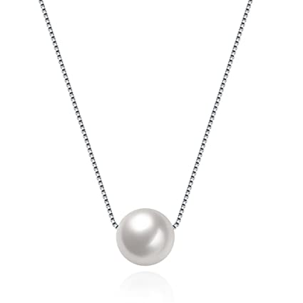 c4f206aa7 Amazon.com: HMILYDYK Women Necklace Genuine 925 Sterling Silver Handmade Big  Cultured Freshwater White Pearl Pendant Chain: Sports & Outdoors