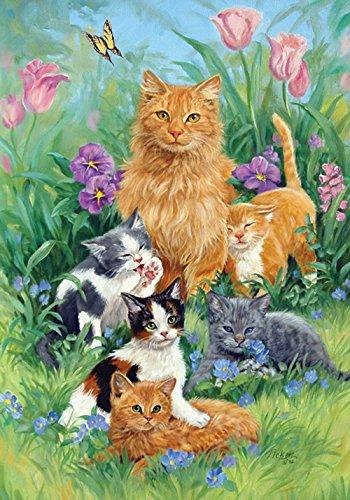 Toland Home Garden Meadow Cats 12.5 x 18 Inch Decorative Spring Summer Flower Kitty Cat Garden - Flag Cat