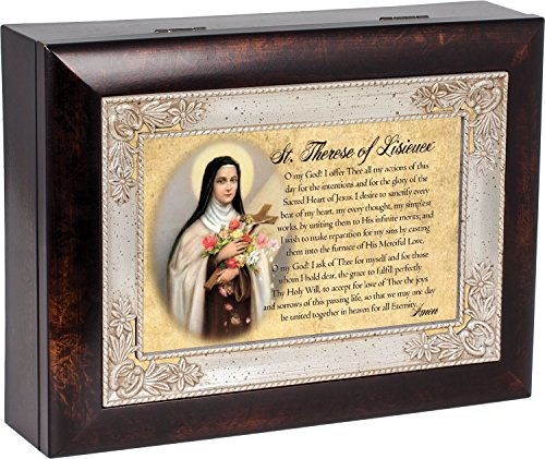 St. Therese of Lisieux Dark Wood Finish Jewelry Music Box Plays Tune Ave Maria (Best Version Of Ave Maria)