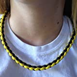 Paracord Necklace, Survival Necklace, Paracord Lanyard, X-cords Custom Made in the USA with Paracord 550 7 Stand, Parachute Cord Necklace, Gauranteed to Last! Carry Additional Paracord for More Survival Uses, Fitted with Safety Release Buckle, Round Braided Paracord Necklace (Steelers Black and Yellow, ~21 inches)