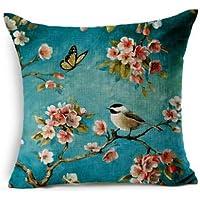 QINU KEONU Oil Painting Hundreds of Birds Cotton Linen Throw Pillow Case Cushion Cover Home Sofa Decorative 18 X 18 Inch